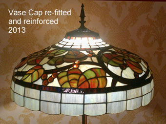 Large repaired stained glass lamp shade