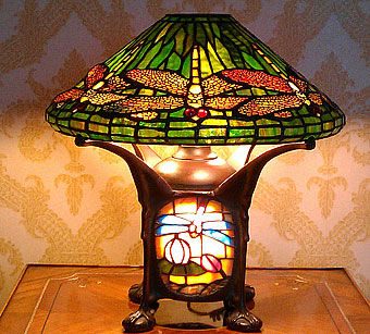 Repaired dragonfly lamp shade
