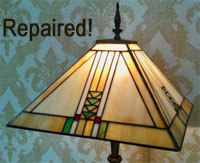 Repaired stained glass Tiffany Lamp