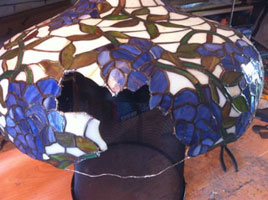 damaged stained glass Tiffany Lamp