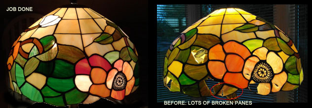 Repaired Poppy lamp shade