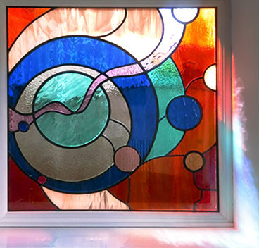 Encapsulated Stained Glass panel in Silkstone