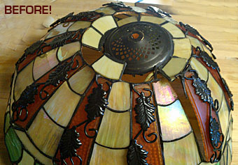 damaged stained glass lamp shade
