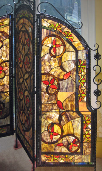 Repaired stained glass screen